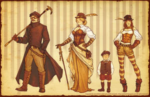 Steampunk Family by Atomic-Hermit