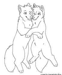 Wolf Couple Lineart by Miiroku
