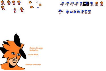 Shynen Orange Hedgehog - Sprite Cheet V.3 by Ultimate-CYPHERS