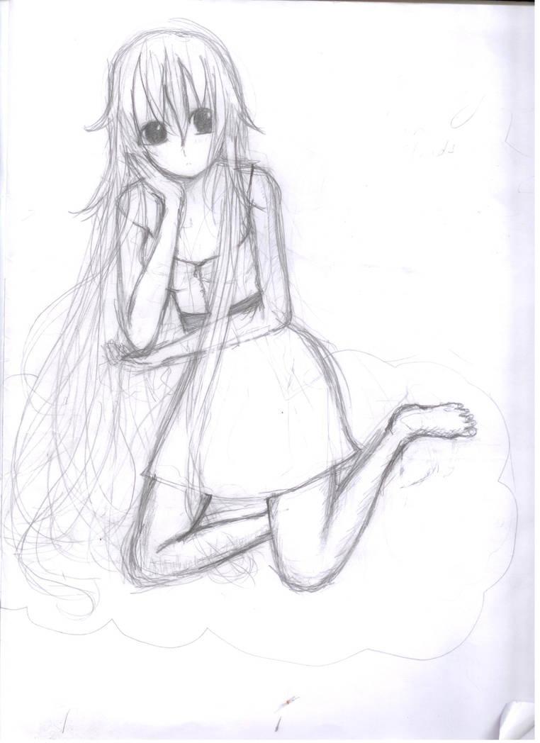 Anime girl sitting by fanartist1665