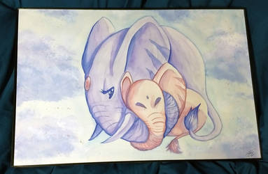 Baby Elephant Watercolor by digitallyfanged