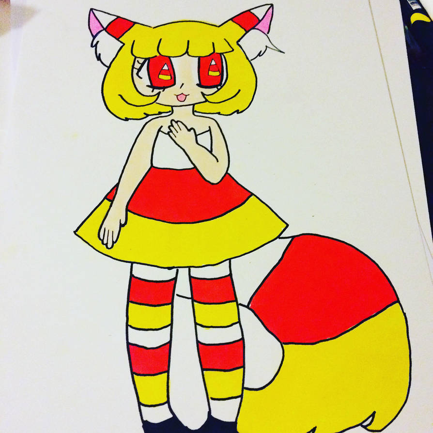Candy Corn Cat ADOPT by chasitythewolf