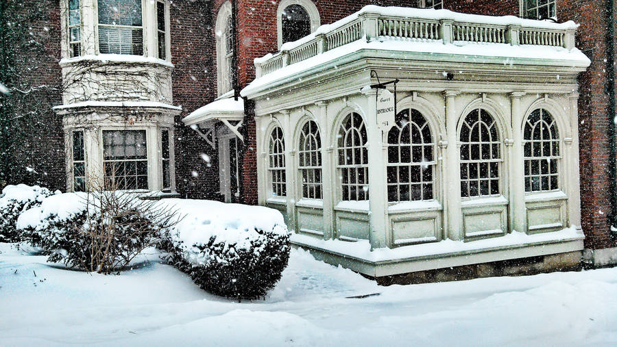 Quiet snow in New England town by herbalcell