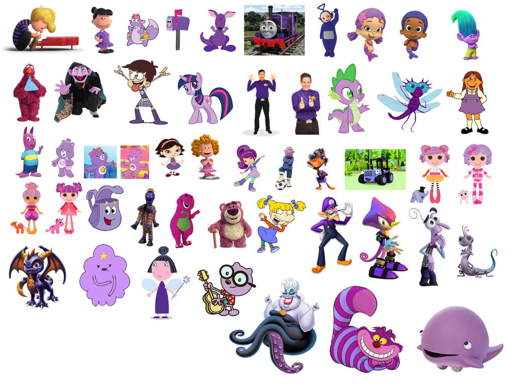 Pink And Green Cartoon Characters