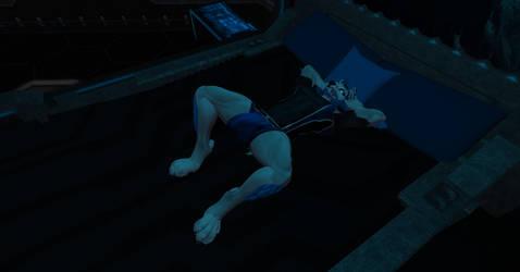 Sleeping Pup in Sci-Fi Space Pajamas by shadowwolf34965