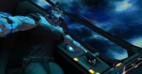 Starfleet Admiral Shadow in cockpit by shadowwolf34965