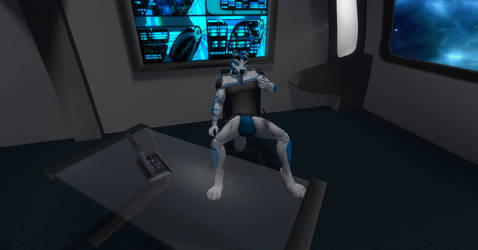 Starfleet Admiral Shadow in his quarters at desk by shadowwolf34965