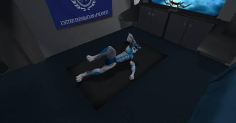 Starfleet Admiral Shadow working his abs by shadowwolf34965