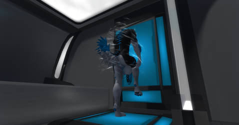 Starfleet Admiral Shadow Sonic Showering by shadowwolf34965
