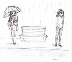 waiting in the rain by appleturtle