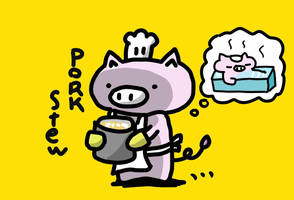 pork stew in Bathing hot water by kusaman