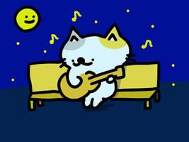 mid night GUITAR cat by kusaman