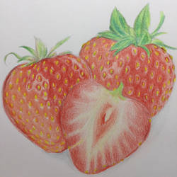 Colored Pencils work - Strawberries by Danao