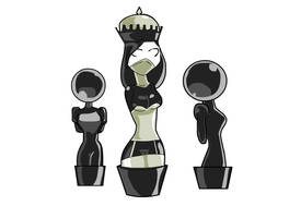 Queen and Pawns by parangsakti