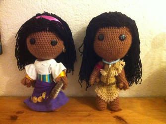 Esmeralda and Pocahontas Sackboys by ThePirateHobbit