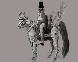Steampunk look at my horse by Onirke