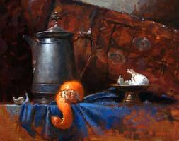 pitcher, orange, garlic by turningshadow