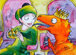 Nanda Bayin got licked by the orange raptor by sw-eden