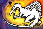Spinosaurus  : Heavy Line Watercolor Art by sw-eden