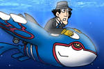 Lt gadget riding on kyogre by gadgetgirl101