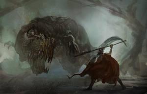 fight_dinosaur by liuyangart