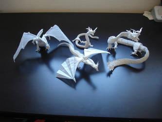 Mega Complex Origami Dragons by origami-artist-galen