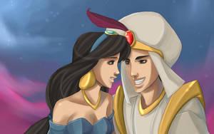 Jasmine and Aladdin by kitsunedajfox