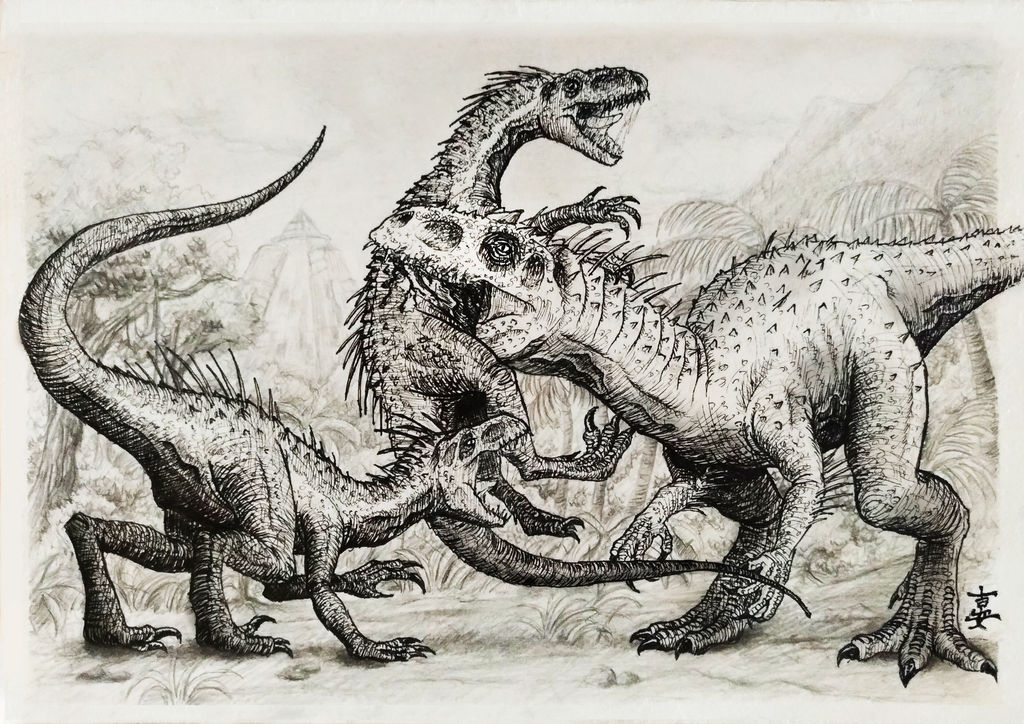 Indominus rex vs Indoraptors by SolomonHuang on DeviantArt