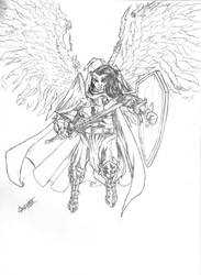 Fallen Aasimar Paladin DND Sketch by cakinsey1991