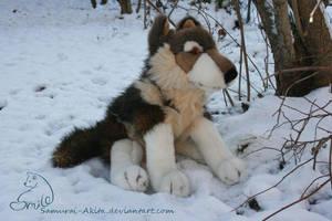 Sitting Wolf Plushie by Samurai-Akita