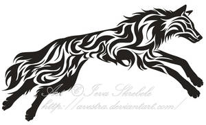 Leaping Wolf Tribal Tattoo by Avestra