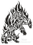 Flame Tiger Tribal Tattoo by Avestra