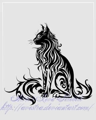 Sitting Cat Tribal Tattoo II by Avestra