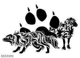 Australian Shepherd Dog and Sheep Tribal Tattoo by Avestra