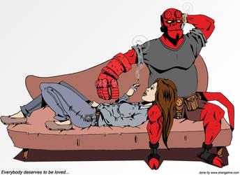 -Hellboy and Liz- by faderillaz