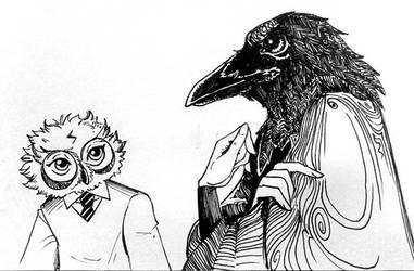 raven and owlet by volkradugi