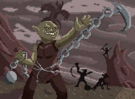 Goblin Chainwhirler by HairicLilred
