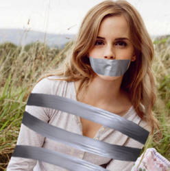 Emma Watson Duct Tape Bound and Gagged by Goldy0123