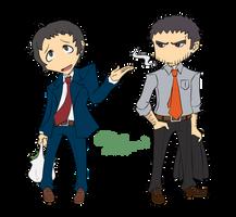 Adachi and Dojima- Persona Q Style by InkyCakes