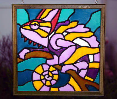 Chameleon Faux Stained Glass (Outdoor) by KiRAWRa