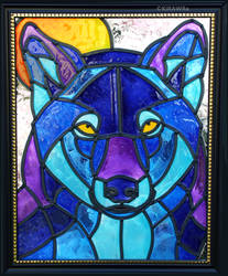 Wolf Moon Faux Stained Glass (Indoor) by KiRAWRa