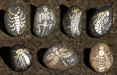 Painted Fossil Rock Magnets - Land Animals by KiRAWRa