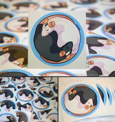 YinYang Rats Vinyl Stickers by KiRAWRa