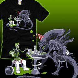 Alien Drinking Contest by azuruli