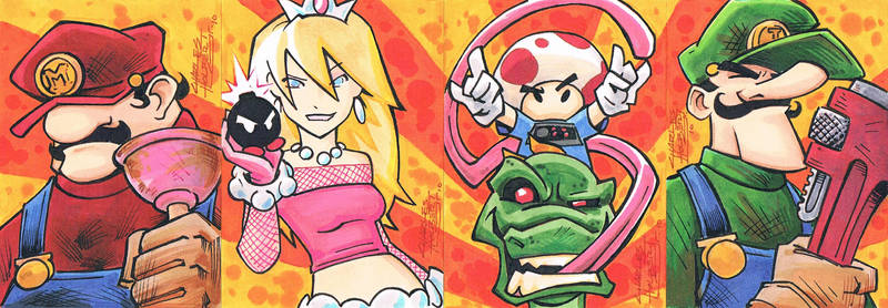 Mario Sketch Cards by KidNotorious