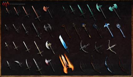 Dark Warriors - game weapons by ShadowDragon22