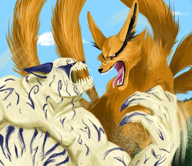 kyuubi vs shukaku by llamathedragon on deviantart