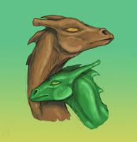 Brown and Green by LlamaTHEDragon
