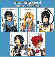 Commissions. Glass City Con 6 Cards by maioceaneyes