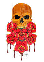 Skull and roses -coloured- by dfmurcia